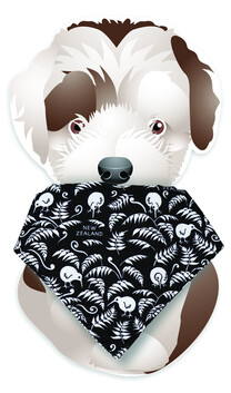 Dog Bandana Kiwi Fern Black